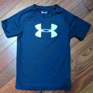 Under Armour Heat Gear Big Logo Navy Boys T Shirt
